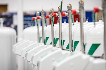 Image of a row of mobile safety showers
