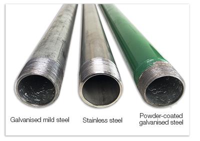 cross section of galvanised mild steel, stainless steel and powder coated galvanised steel