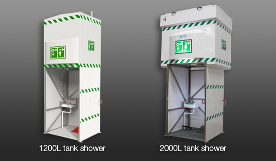 1200 liter tank shower and 2000 liter tank shower