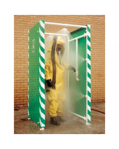PPE decontamination shower with multiple nozzles