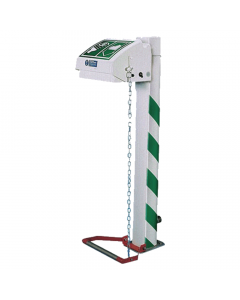 Jacketed pedestal mounted eye wash with ABS closed bowl