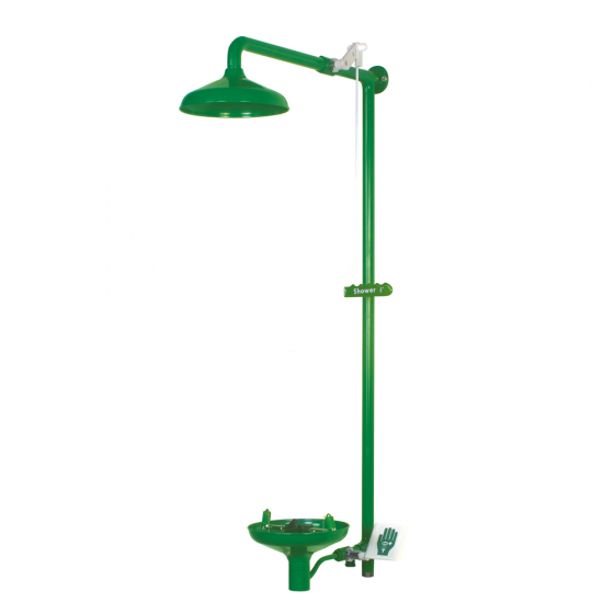 Wall mounted laboratory safety shower with eye wash