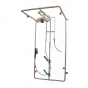 Wall mounted PPE decontamination shower with detergent inducer and hose brush